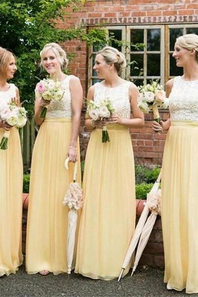 Long Bridesmaid Dresses, Yellow Bridesmaid Dresses ,Chiffon Bridesmaid Dresses ,Cheap Bridesmaid Dresses ,Sleeveless Bridesmaid Dresses ,Lace Top Bridesmaid Dresses , Simple Bridesmaid Dresses , Wedding Guest Dresses ,17751