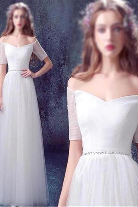 Off-The-Shoulder Floor Length Tulle A-Line Wedding Dress Featuring Beaded Embellished Belt