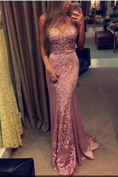 Unique Prom Dress, Lace-Appliques Prom Dress,Pink Prom Dress, Sleeveless Sweetheart-Neck Prom Dress, Mermaid Evening Gowns Long Prom Dress, Special Occasion Gowns, Prom Dress, Party Dress, 17823