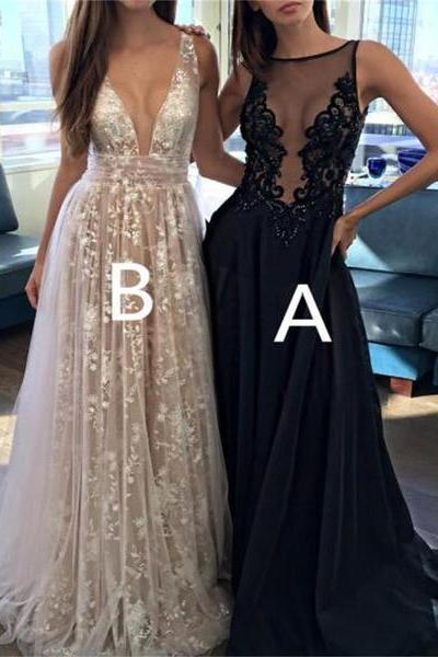 2017 Prom Dress, Sexy Deep V-Neck Prom Dress, Tulle Lace Appliques Prom Dress, Floor-Length A-Line Party Prom Dress, Long Prom Dress, Special Occasion Gowns, Prom Dress, Party Dress, 17849
