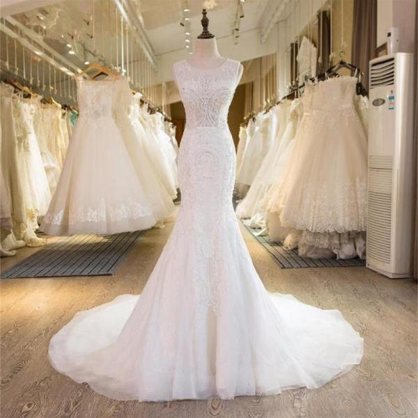 2017 Mermaid Elegant Formal New Design Beading Handmade Pretty Free Custom Wedding Dresses, 17893
