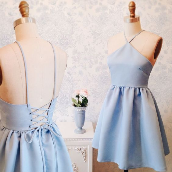 2017 Junior Homecoming Dress, Simple Homecoming Dress, New Homecoming Dress ,Blue Homecoming Dress, Halter Homecoming Dress, Short Custom Prom Dresses, 17911