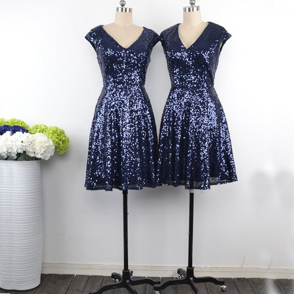 short bridesmaid dress, navy bridesmaid dress, sequin bridesmaid dress, sparkle bridesmaid dress, homecoming prom dress, 1421