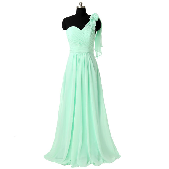 long bridesmaid dress, mint bridesmaid dress, chiffon bridesmaid dress, cheap bridesmaid dress, one shoulder bridesmaid dress, 1422