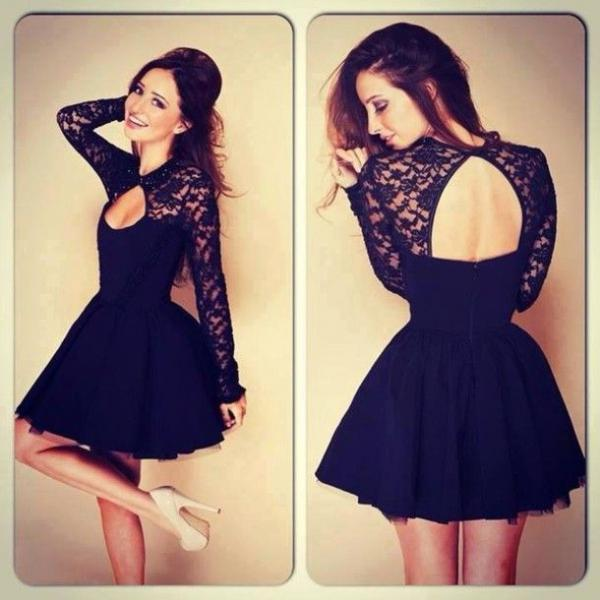 black Homecoming Dresses, short homecoming Dresses, cheap Homecoming Dress, little key hole black dress, party prom dress, 14189