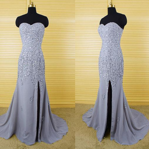 long prom dress, gray prom dress, party prom dress, sparkle prom dress, sweetheart prom dress, side slit prom dress, evening dress gown, 141308