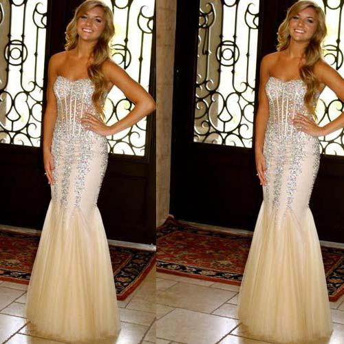 long prom dress, champagne prom dress, sparkle prom dress, mermaid prom dress, charming prom dress, party prom dress, long evening dress, 141347