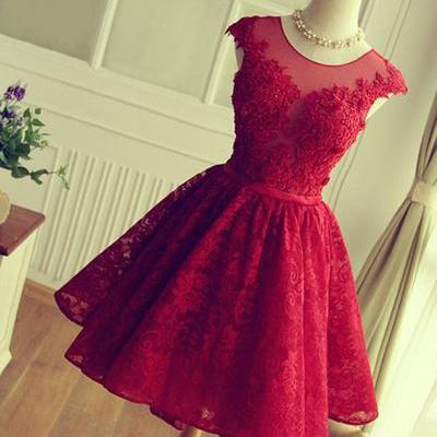 short prom dress,red homecoming dress ,lace homecoming dress ,lovely homecoming dress ,junior prom dress ,cheap prom dress , Cocktail Dresses, Graduation Dress,Homecoming Dress,17358
