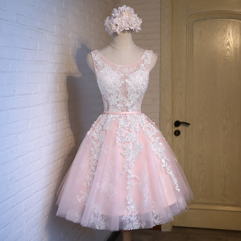Pink Homecoming Dress,Cute Homecoming Dress,Scoop Lace Up Homecoming Dress, Junior Homecoming Dress with appliques,Graduation Dress , Homecoming Dress ,Prom Dress for Teens,17666